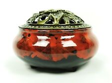 Céramique décorative Bakhoor Incense Burner encensoir couvercle de métal (noir/rouge marbré)