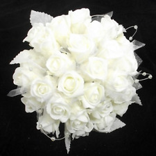 30 Heads Glittery Foam Rose Organza And Pearl Loops Hand-Tied Brides Bouquet