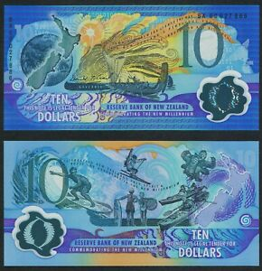■■■ New Zealand 10 Dollars MILLENNIUM P-190a 2000 VERY RARE Polymer UNC ■■■