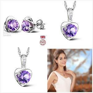 UK Purple CZ Sterling Silver Jewellery Set Gift Boxed