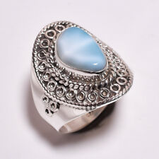 925 Sterling Silver Ring Size UK N 1/2, Larimar Handcrafted Women Jewelry CR4319