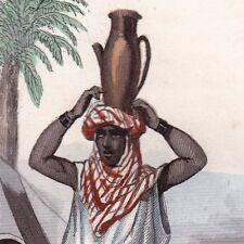 Gravure Couleur XIXe Femme Bédouine Bédouins Nomades Désert 1846