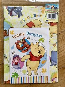 Disney Winnie The Pooh Wrapping Paper & Card Set (Inc 1 Sheet/1 Tag & 1 Card)