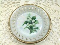 Vintage Month of May Lily of the Valley Trinket Dish Pearlized Lusterware  3.75""
