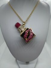 Betsey johnson Pink fushia Lipstick Pendant Sweater Statement Necklace Gift Box
