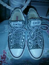 Rare Converse All Star Grey White squirrel and heart Print Shoes Trainers Size 4