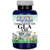 GLA (Gamma Linolenic Acid) 800mg 200 Caps by Vitamins Because