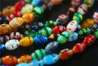 Pretty Oval Glass Colorized Millefiori Loose Beads Spacer Jewelry Finding 50pcs