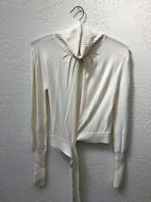 Catharine Malandrino Cashmere Blend Wrap Sweater Turtleneck Cream sz S