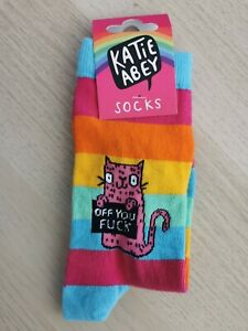 Katie Abey Cat Socks Multicoloured Stripe funny rude ladies f**k