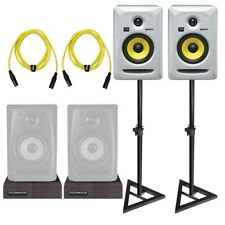 """KRK Rokit RP5G3 5"""" White Powered Studio Monitor Speakers Pair + Stands + Cables"""