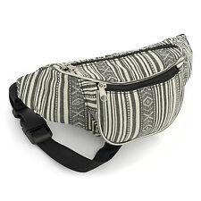 Ladies Girls Retro Bum Bag - Black & White Stripe - Brand New