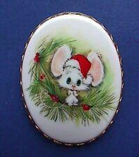 BUY1&GET1@50%~Hallmark PIN Christmas Rare CAMEO MOUSE in SANTA HAT Vtg PENDANT