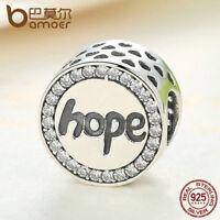 Fashion 925 Sterling silver Charm Hope Bead & CZ For Women Bracelet Jewelry