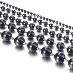 1.5-12mm Men Women Stainless Steel Round Ball Bead Chain Black Necklace Bracelet