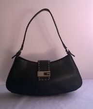 Guess Black Leather Shoulder Bag Style Purse Black with Tan Stitching and Silver