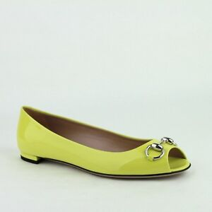 Gucci Neon Yellow Patent Leather Flat Shoe with Silver Horsebit 371199 7209