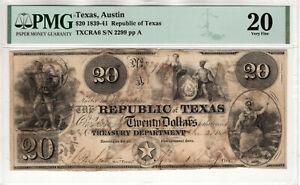 1839-1841 $20 REPUBLIC OF TEXAS, AUSTIN OBSOLETE NOTE PMG VERY FINE VF 20 (012)