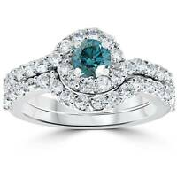1 1/2ct Treated Blue Diamond Engagement Halo Curve Ring Set 10K White Gold