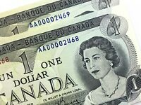1973 Canada 1 One Dollar Consecutive Uncirculated AAD Lawson Bouey Banknote R854