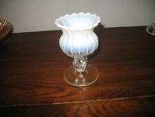 Beautiful Vintage Fenton Hand Blown Opalescent White Fluted Art Glass Vase 5.5""