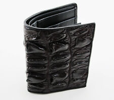 New Brown Genuine Leather Crocodile Horn Back Tail Skin Men's Bi-fold Wallet