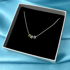 Dainty Sterling Silver Three Stars Necklace Minimalist Necklace Gift For her