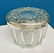 Antique Repousse Sterling Silver Glass Repousse Ring Hairpin Powder Jar w Mirror