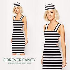 Jailbird Convict Costume + Hat Ladies Prisoner Uniform Womens Fancy Dress Outfit