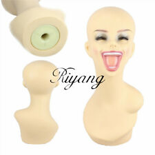 Laughing Head Female Wig Necklace Mannequins Model Head Plastic Smile Big Mouth