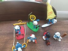7 Smurfs from 1970s/80s: Cricket, Hurdler, Basketball, Archer, windsurfers etc