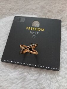Topshop Freedom Finer Gold And Black Crossed Hoop Ring Size Small