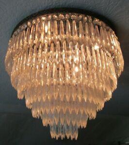 VINTAGE CRYSTAL CHANDELIER PRISM 7 TIER flush LARGE ceiling light MADE IN ITALY!