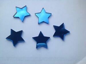 Blue Star Shaped Acrylic Mirror Embellishments 2cm, x 20.