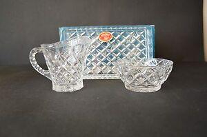 Vintage Czechoslovakia Bohemia Crystal Milk Jug Tray Sugar Bowl  24Pbo