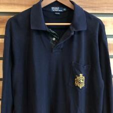 Mens VTG Navy Blue Polo Ralph Lauren Crest Logo L/S Rugby Shirt Golf XL