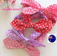 Girl Kids baby Bunny bow dots print cotton Stretchy Party Hair head band Prop
