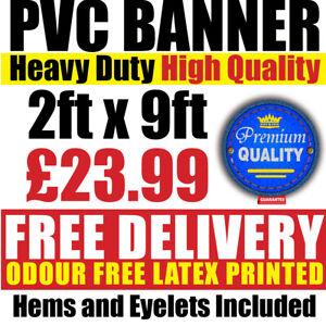 PVC Banners Outdoor Vinyl 2ft x 9ft Advertising Sign Display Custom Printed