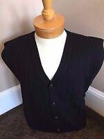 New NWT Pringle Wool Mens Black Cardigan Sweater Vest