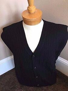 New NWT Pringle Wool Mens Black Cardigan Sweater Vest $150 value