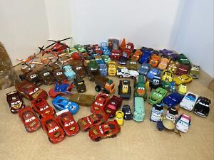Lot Of 73 Disney Pixar Cars and planes Diecast AND 24 Plastic Cars W/ Lightening