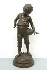 """Ernest Rancoulet Signed French Boy Holding a Fish Metal Sculpture 14"""" Tall"""