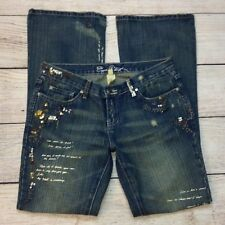 Ezra Fitch Jeans Size 29 Womens Flare Leg Distressed Denim Sequins Embellished
