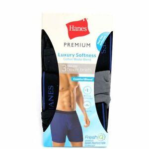 Hanes® Premium® Men's Luxury Softness Cotton Modal Blend Boxer Briefs 3-Pack NEW