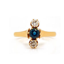 Antique Solid 14K Yellow Gold Genuine Sapphire & Natural Diamond Ring 1.8g