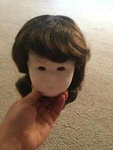 """Doll Wig Size 14"""" Brown Hair Color Style 310B Bangs Long Hair Soft Curl Tallina'"""