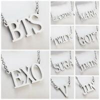 KPOP NCT EXO GOT7 TWICE BLACKPINK WANNA ONE Letter Steel Pendant Necklace
