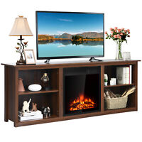 "Costway 70"" 2-Tier TV Fireplace Stand 22.5"" Electric Fireplace Up to 75"" Walnut"