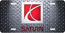 Saturn Motors diamond plate look aluminum original art license plate 2