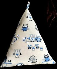 """Extra large bean bag tablet cushion stand for 12.9"""" iPad Pro. Handmade.Blue Owl"""